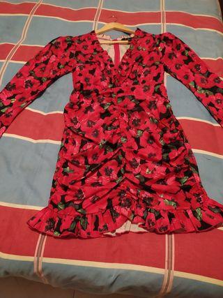 vestido de fiesta escote delantero y manga larga