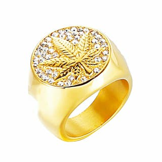 anillo hoja con diamantes