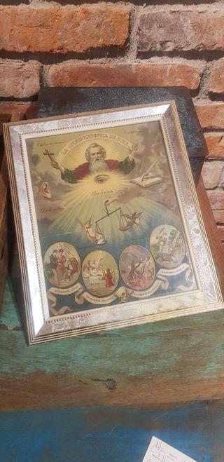 Antiguo cuadro o lámina religiosa