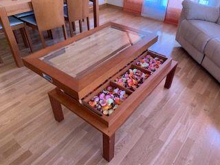 Mesa de centro de salon de madera - abatible