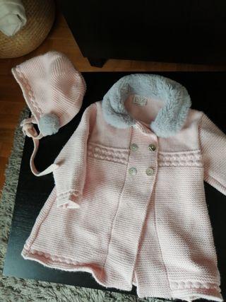 Abrigo y capota rosa paz Rodriguez talla 6 meses