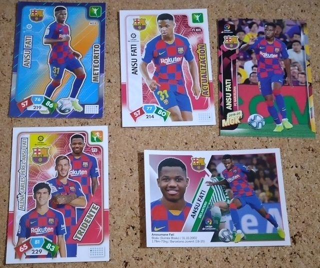 5 cromos Ansu Fati 19-20 Rookie stickers