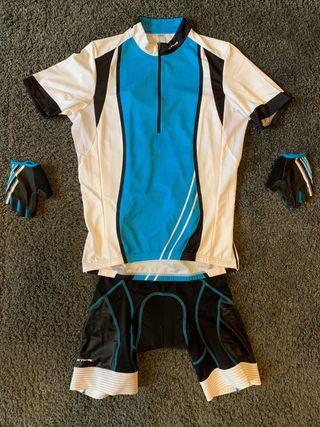 Maillot manga corta y guantes ciclismo