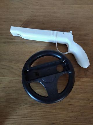 Pistola y volante para la Nintendo Wii