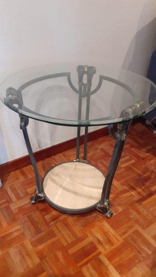 Mesa auxiliar de comedor redonda de cristal