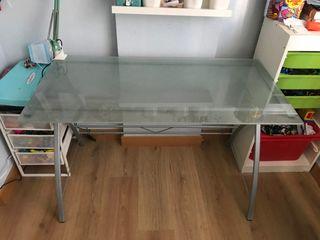 Mesa escritorio juvenil cristal templado