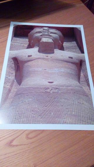 LAMINA A3 FOTO ORIGINAL ESTATUA TEMPLO EGIPTO