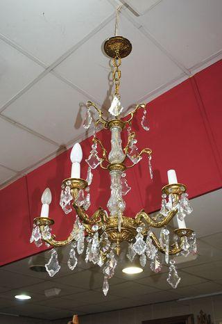 Antigua lámpara bronce y cristal