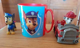 patrulla canina muñecos y taza