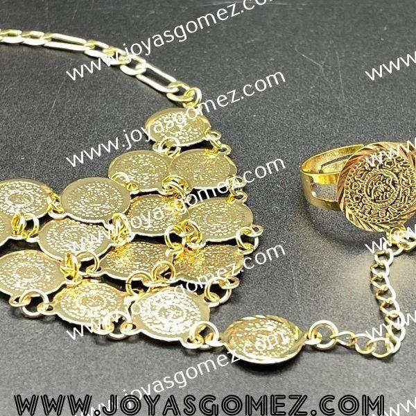 Manitas monedas chapado en oro 18k
