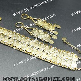 pulsera y pendientes monedas chapado en oro de 18