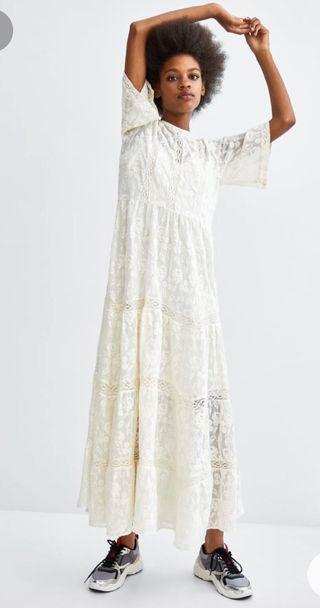 Vestido crema zara talla L