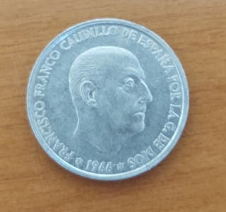 Moneda 50 céntimos de peseta.