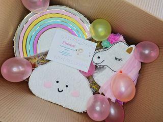 Mini piñata unicornio, nube, arcoiris.