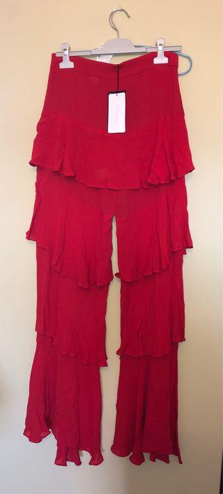 Pantalon rojo Zara Talla M volantes fiesta