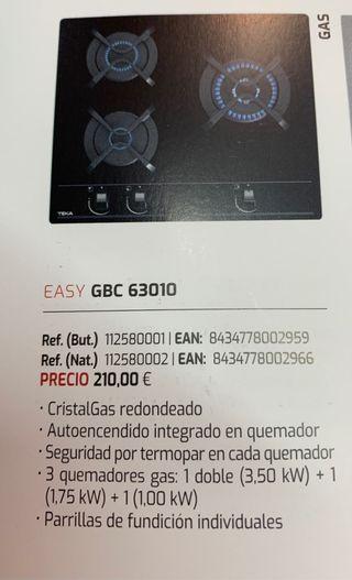 Placa TEKA GBC 63010 gas butano