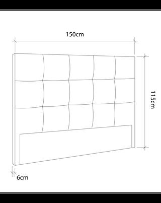 Cabezal, cabecero cama OLSON tapizado en gris 150