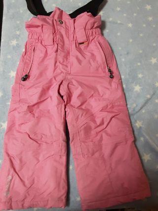 pantalon con tirantes de esqui rosa