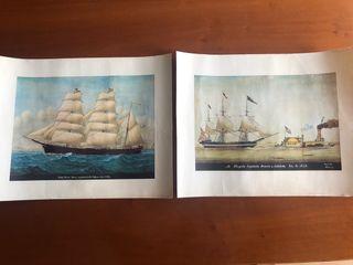 Muy antiguas láminas barcos veleros