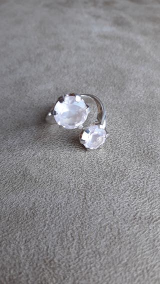 Anillo plata 925 y 2 gemas de cuarzo rosa. N° 7