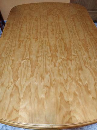 Mesa de comedor extensible de madera pino