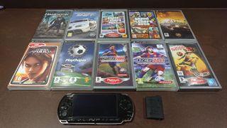 PSP con 10 juegos +funda+batería extra+joystick