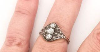 Antiguo Anillo Lanzadera Oro 14k Plata Diamantes