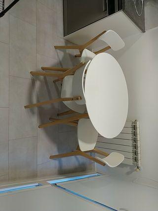 mesa y sillas comedor cocina blanco nordico madera