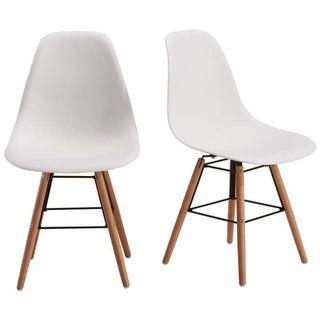 RENA Juego de 2 sillas de comedor - Blanco + Patas