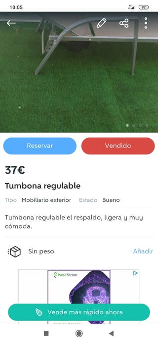 Tumbona regulable y ligera