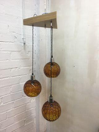 Lámpara de techo con globos cristal ámbar