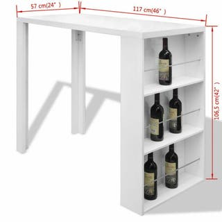 Mesa alta de cocina con estantes para botellas bla