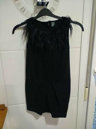 Vestido Zara plumas T. 9-10 años