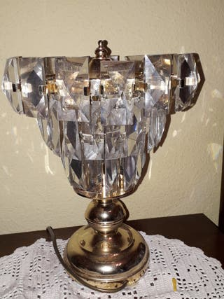 Pareja de lámparas de cristal para mesilla