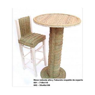 Mesa redonda alta y taburete respaldo de e... r162