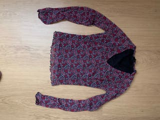 Camiseta de vestir floreada, mujer. Talla S.