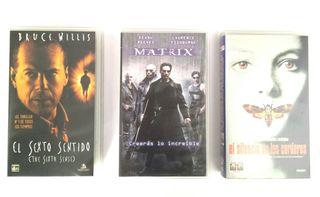 PELÍCULAS VHS:MATRIX,SEXTO SENTIDO,SILENCIO CORDER