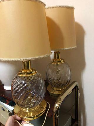 Dos lámparas antiguas cristal 53 cn d alto