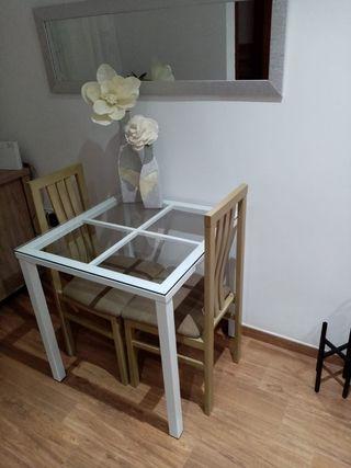 mesa de 75X75 por encargo con cristal de 30 mm