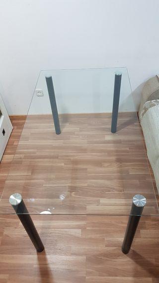 Mesa cristal salón 140 x 80