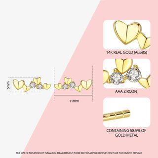Exquisite 14k Gold Heart Stud Earrings