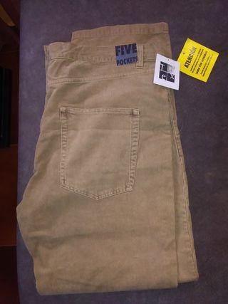 Pantalón de pana fina beige marca Tex