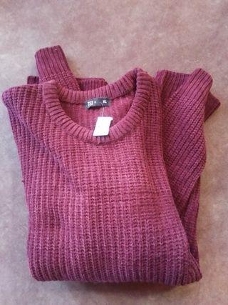 Jersey de lana color burdeos marca Tex