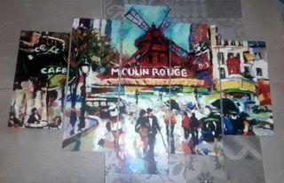 Fotografía sobre madera Moulin Rouge talla 100x70c