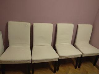 Sillas desenfundable Ikea con funda blanca
