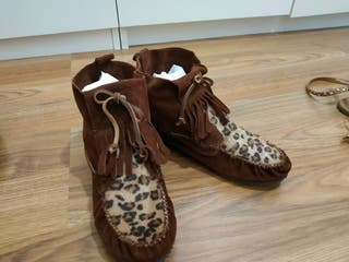 botines piel Zara tipo mohicano