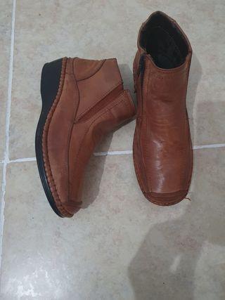 botines marrón claro 100% piel