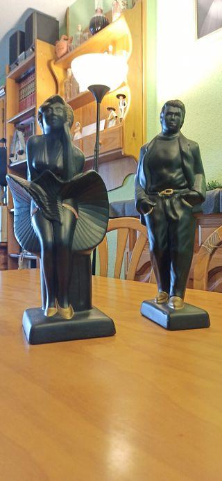 Figuras James Dean y Marilyn Monrou