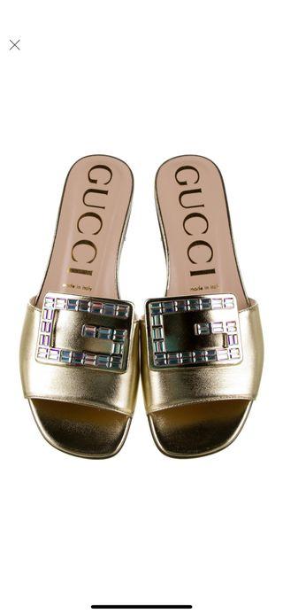 Gucci GG Logo Crystals Sandals