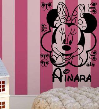 Minnie Con mariposas personalizada Vinilo Pegatina